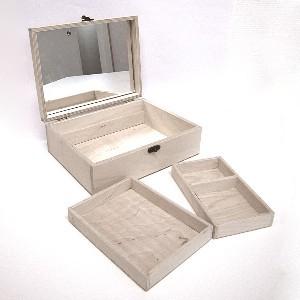 Fa ékszertartó doboz, ékszeres doboz, TÉGLALAP alakú (24,5*8*18,5 cm), natúr, TÜKÖRREL, kivehető belső résszel