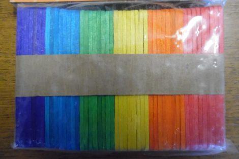 Fa pálcika, spatula, SZÍNES (6 féle szín, 150 db / csomag) 70*7 mm KICSI