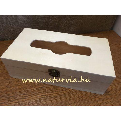 fa papírzsebkendő tartó / zsepitartó, FEKVŐ, nyitható tetejű (25*13,5*8 cm)