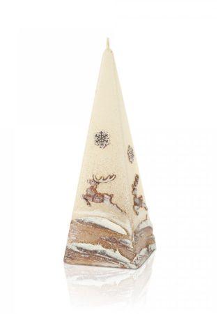 díszgyertya, gyertya, PIRAMIS alakú, ARANY RÉNSZARVAS mintával (50*150 mm)
