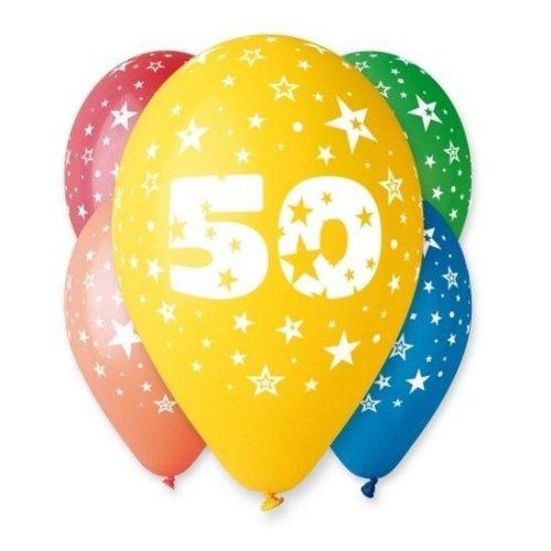 """Számos léggömb, lufi """"50"""" felirattal (5 db / csomag) 30 cm, vegyes szinekben"""
