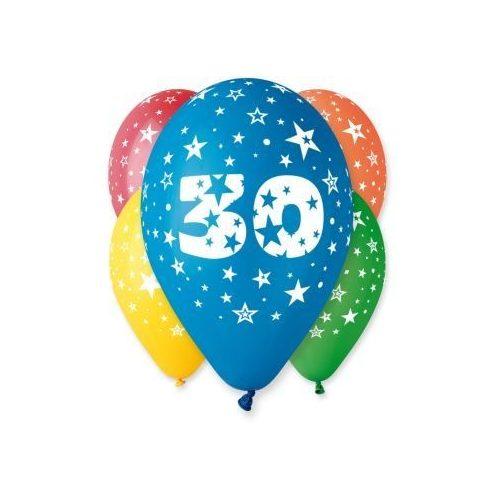 """Számos léggömb, lufi """"30"""" felirattal (5 db / csomag) 30 cm, vegyes szinekben"""