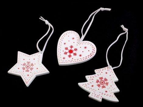 fa dísz szett (szív, csillag, fenyőfa) 3 db-os (6 cm) FEHÉR ALAPON PIROS karácsonyi