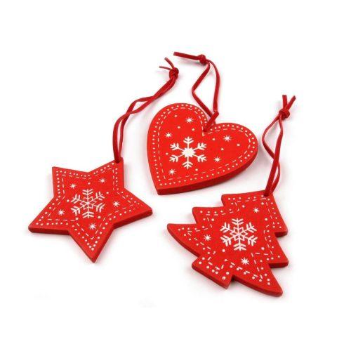 fa dísz szett (szív, csillag, fenyőfa) 3 db-os (6 cm) PIROS ALAPON FEHÉR karácsonyi