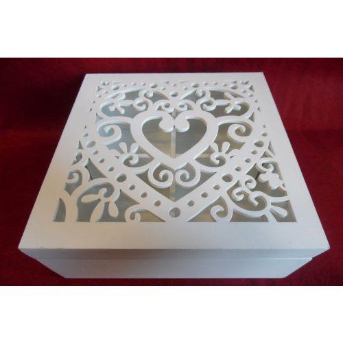 Fa doboz, fedeles (tetővel), SZÖGLETES 18*18*7 cm