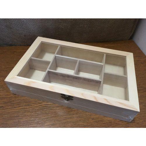 Rekeszes fa tároló, gyöngyös doboz átlátszó tetővel (30 * 19 * 5,5 cm) DÍSZÍTHETŐ FA TÁRGY