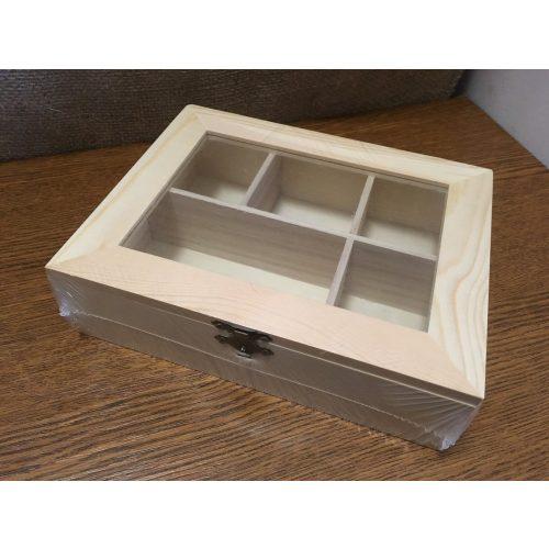 Rekeszes fa tároló, gyöngyös doboz átlátszó tetővel (20,5 * 16 * 5,5 cm) DÍSZÍTHETŐ FA TÁRGY