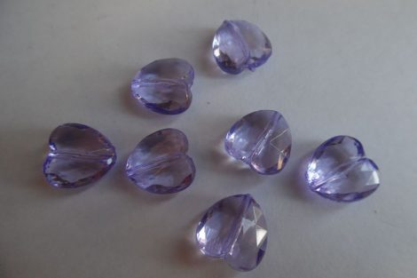 Akril közepes SZÍV alakú gyöngy, 1,5 cm LILA