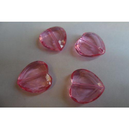 Akril óriás SZÍV alakú gyöngy, 2 cm RÓZSASZÍN