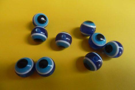 Pávaszem (páva szem) gyöngy, kerek 12 mm KÉK