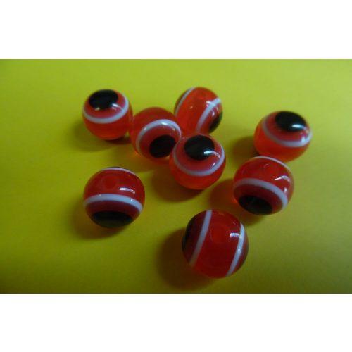 Pávaszem (páva szem) gyöngy, kerek 12 mm PIROS