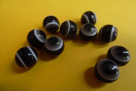 Pávaszem (páva szem) gyöngy, kerek 8 mm FEKETE