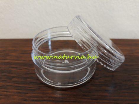 kozmetikai tégely (vagy gyöngytartó doboz) menetes fedéllel (10 ml), VÍZTISZTA (transzparens)