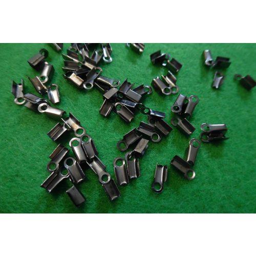 bőrvég, zsinór vég, U-ALAKÚ sima (4 mm * 9 mm), FÉM / FEKETE színű (10 db / csomag)