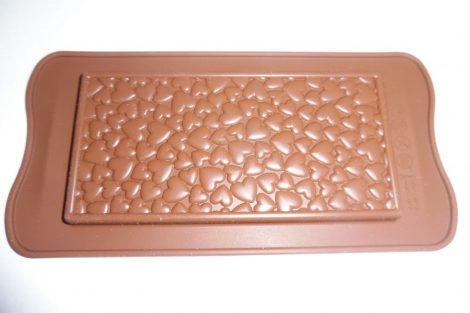 Csokitábla, táblás csokoládé készítő forma, SZIVES / SZIVECSKÉS