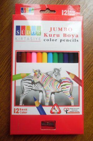 SÜDOR Jumbo 12 db-os színes ceruza készlet hegyezővel