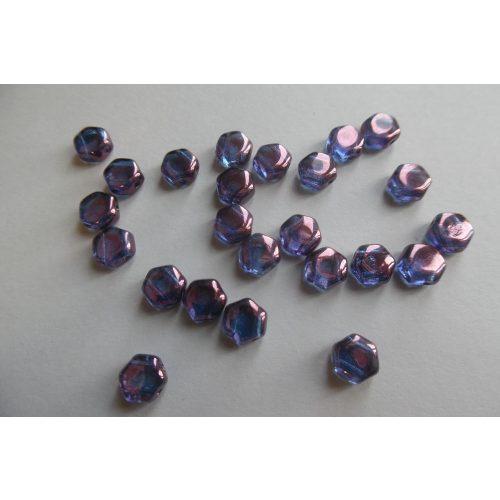 Honeycomb (hexagon) gyöngy, KRISTÁLY VEGA / antikolt liláskék (10 db / csomag)