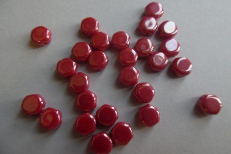 Honeycomb (hexagon) gyöngy, SÖTÉT PIROS (10 db / csomag)