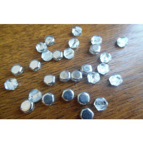 Honeycomb (hexagon) gyöngy, EZÜST és KRISTÁLY (10 db / csomag)