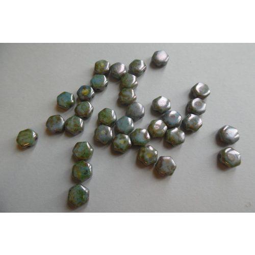 Honeycomb (hexagon) gyöngy, CAMOUFLAGE / antikolt kékeszöld (10 db / csomag)