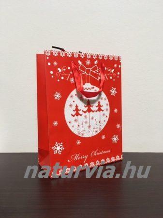 Papír dísztasak, papírtáska, papír tasak (M méret - 24*18 cm), KARÁCSONYI mintával (piros, fenyőfa)