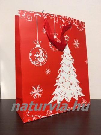 Papír dísztasak, papírtáska, papír tasak (L méret - 32*26 cm), KARÁCSONYI mintával (piros, karácsonyfa)