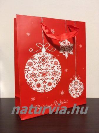 Papír dísztasak, papírtáska, papír tasak (L méret - 32*26 cm), KARÁCSONYI mintával (piros, gömb)
