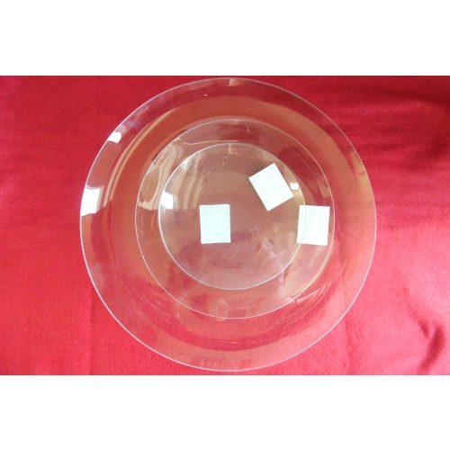 Díszíthető üveg tál, KEREK / KÖR alakú, nagy (30 cm)