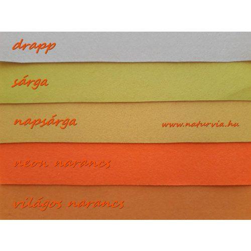 Filc, barkácsfilc anyag A4 (20*30 cm) méretben VILÁGOS NARANCS