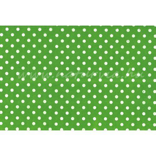Filc, barkácsfilc anyag A4 (20*30 cm) méretben, mintás FEHÉR PÖTTYÖS (PETTYES) ZÖLD ALAPON
