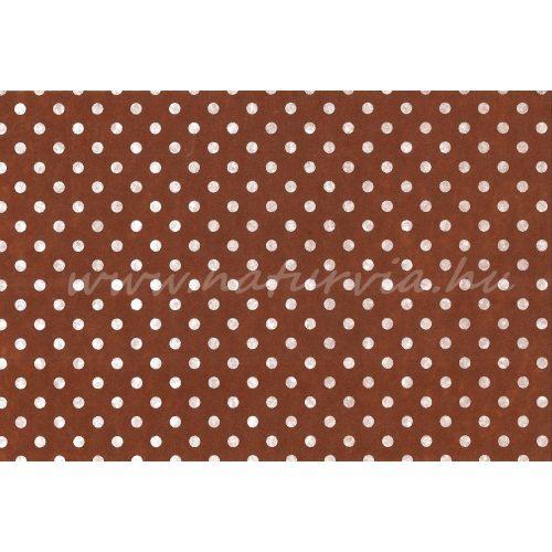 Filc, barkácsfilc anyag A4 (20*30 cm) méretben, mintás FEHÉR PÖTTYÖS (PETTYES) BARNA ALAPON