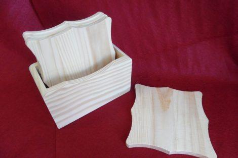 Fa poháralátét, pohár alátét készlet, NÉGYZETES (álló) 10 cm