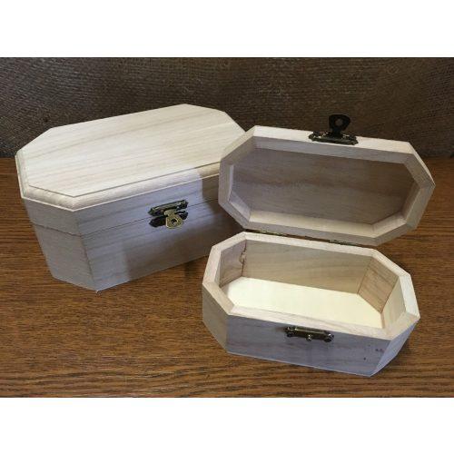 Fa láda (doboz), fém csatos, NYOLCSZÖG alapú, KICSI (12*6,5*6 cm)