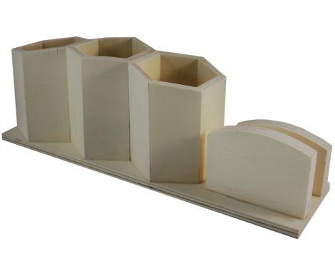 Fa tároló / írószer és névjegykártya tartó (30*8*10 cm)