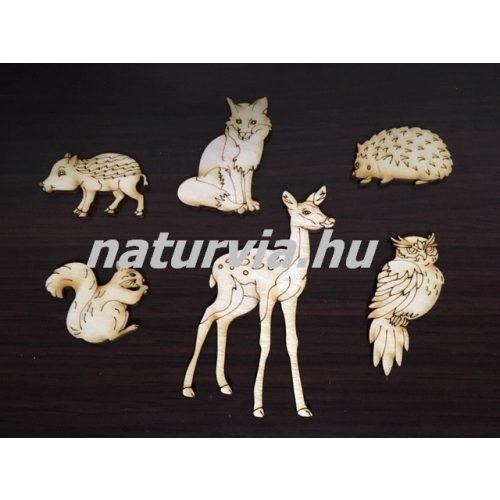 Fa erdei állatok / őszi állatok (6 db különböző/csomag) NATÚR (lézervágott) ŐSZ (őzike, süni, bagoly, róka, vaddisznó, mókus)