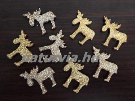 Fa rénszarvas (3*3 cm), 8 db / csomag, arany és ezüst CSILLÁMOS (lézervágott)