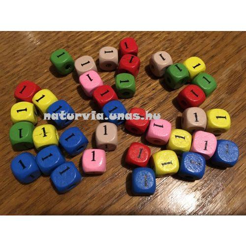 Fa gyöngy, kocka alakú (fa kocka számmal), SZÁMOS 10*10 mm, SZÍNES, 1-es