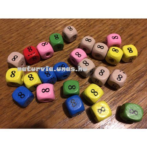 Fa gyöngy, kocka alakú (fa kocka számmal), SZÁMOS 10*10 mm, SZÍNES, 8-as (nyolcas)