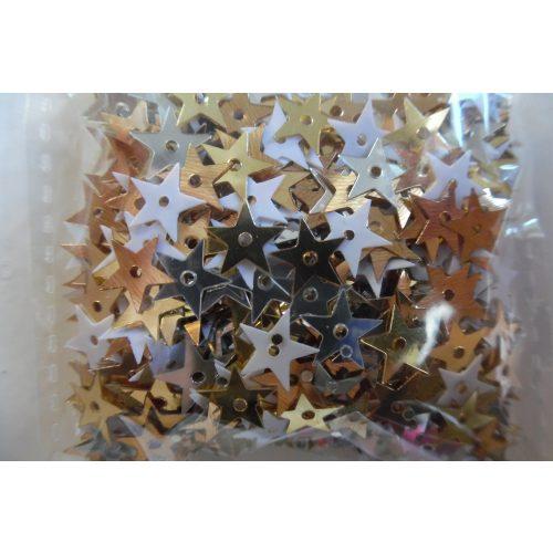 Dekorációs flitter, csillag alakú 10 mm, fényes ARANY-EZÜST-FEHÉR (10 g)