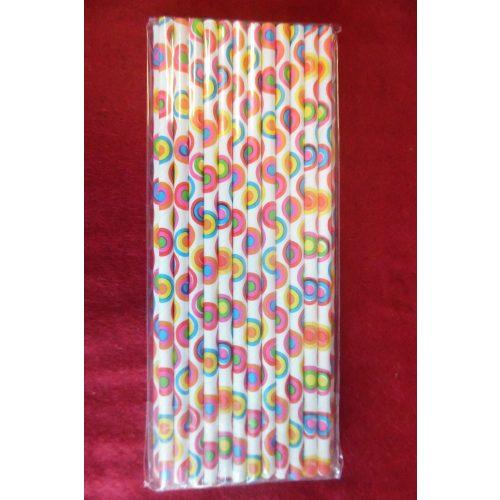 Szívószál, RETRO mintás, színes (25 db/csomag)