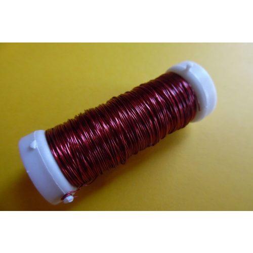 Gyöngyfűző drót, színes, 30 m / tekercs (0,37 mm) PIROS
