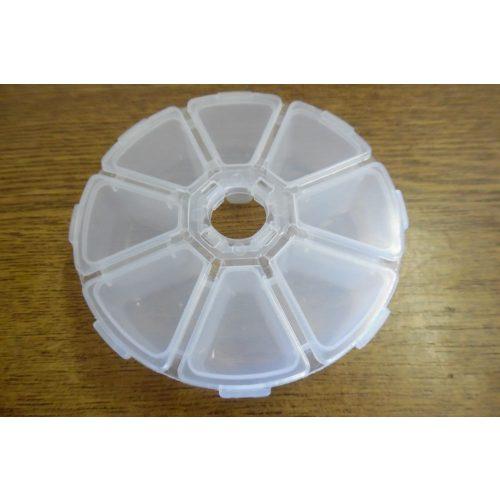 Gyöngytartó, gyöngy tároló műanyag doboz, kerek (átmérő 10 cm)