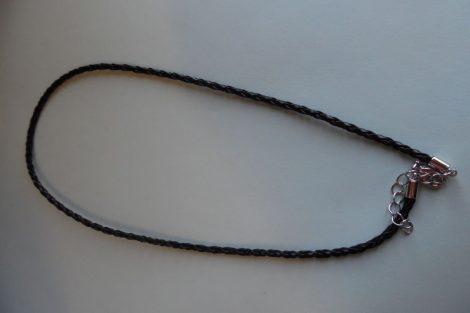 Fonott bőr nyaklánc szerelékkel, FEKETE 3 mm*42 (50) cm