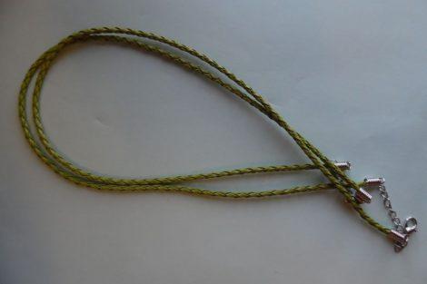 Fonott bőr nyaklánc szerelékkel, FŰZÖLD 3 mm*42 (50) cm