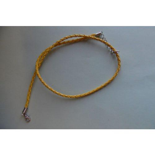 Fonott bőr nyaklánc szerelékkel, OKKERSÁRGA 3 mm*42 (50) cm