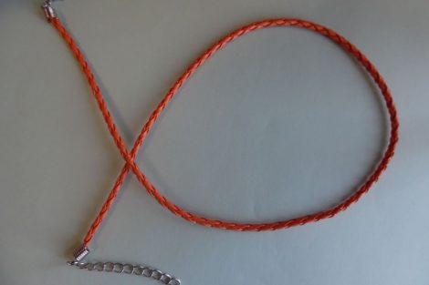 Fonott bőr nyaklánc szerelékkel, NARANCSSÁRGA 3 mm*42 (50) cm