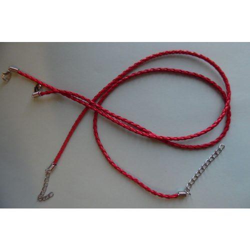 Fonott bőr nyaklánc szerelékkel, PIROS 3 mm*42 (50) cm