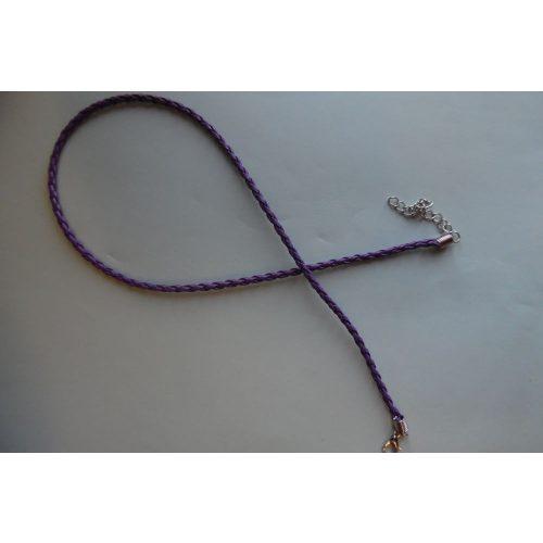 Fonott bőr nyaklánc szerelékkel, LILA 3 mm*42 (50) cm