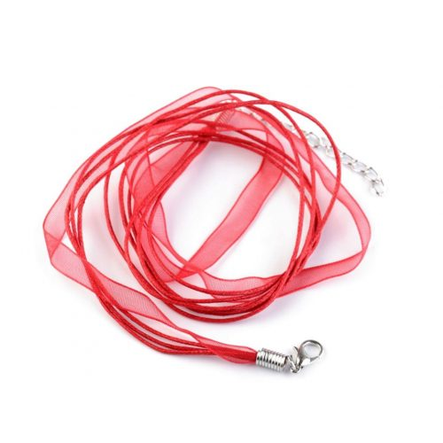 Organza szalagos lánc alap (multiszalag) 44-48 cm, PIROS