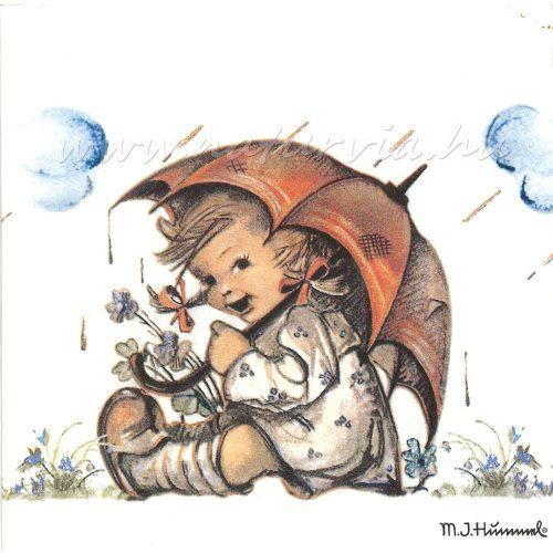 Szalvéta MESE, kislány esernyővel